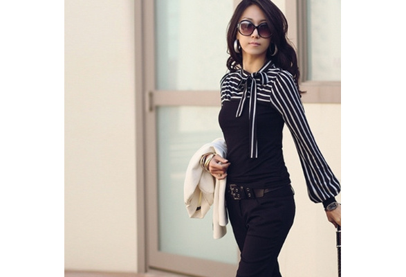 New Polo Neck Stripes Long Puff Sleeve Cotton Casual Tops Blouses T-Shirt VVF