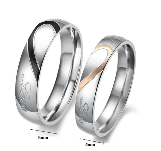 Wish Heart Shape Matching Titanium Promise Ring for Couple 316L
