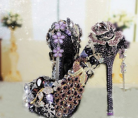 Wish | Purple wedding shoes sparkly bridal shoes crystal evening ...
