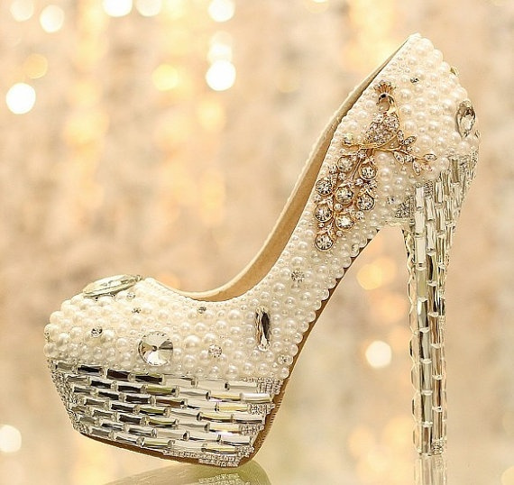 Wish | Sparkly high heels wedding shoes Crystal bridal shoes pearl ...