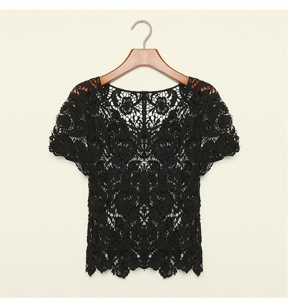 Wish New Spring Summer Women Blouses Hollow Out Casual Lace Shirts