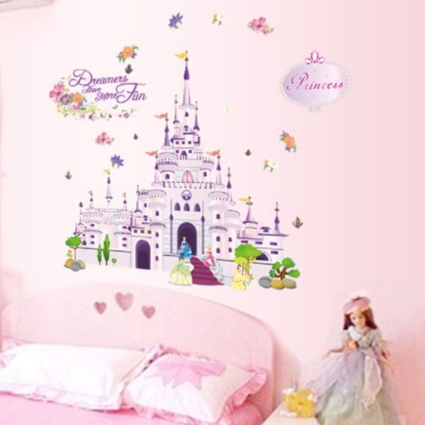 Wish | Pink Fairy Tale Castle Wall Sticker Princess Wall Decals Cartoon  Stickers For Girlu0027s Room Decor
