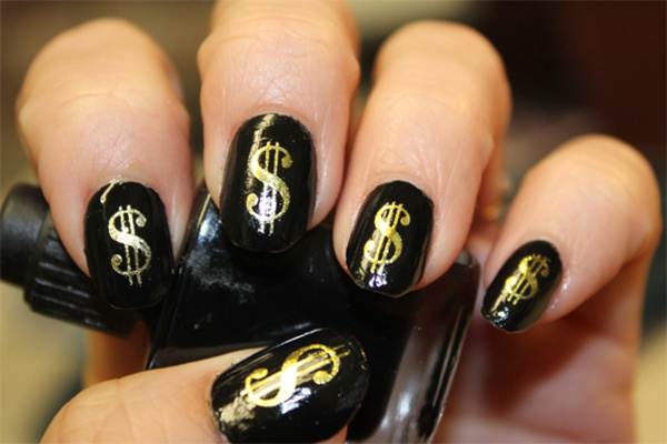 Wish 38 Gold Dollar Signs Nail Art Dsg Poker Casino Money Bling
