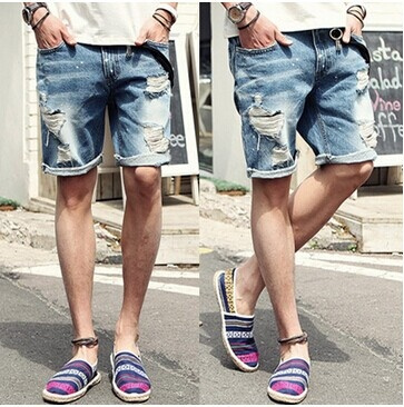 Wish | NEW famous brand summer denim shorts for men casual fashion ...