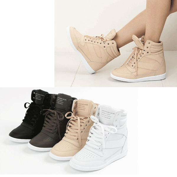 New fashion Women/'s Lace Up Hidden Wedge High Top Sneakers Athletic Shoes