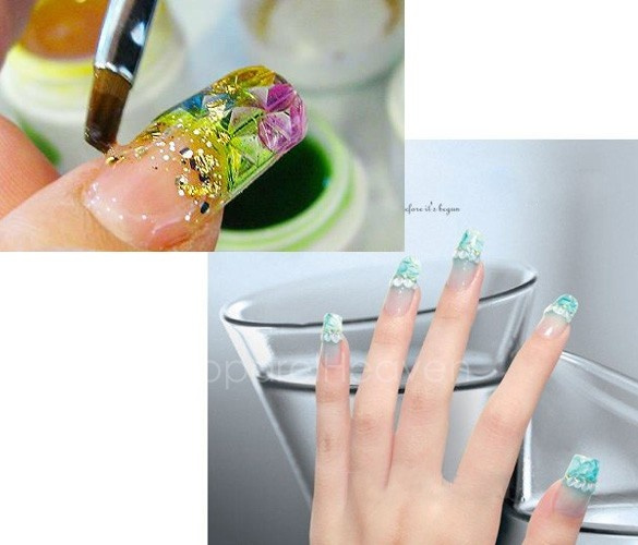 Hot150pcs Transparent Mosaic French Acrylic UV Gel False Nail Art Tips Salon DIY AP