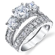wedding ring, Sterling Silver Ring, sterlingsilverbridalset, bridalset