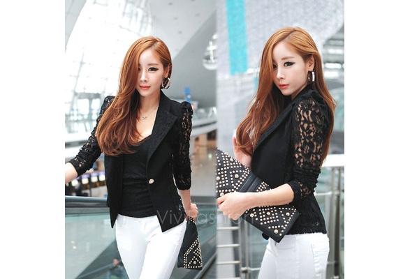 New Women's Elegant Coat Lace Splicing Slim Suits Jacket Coat 2 Colors 2 Sizes VVF