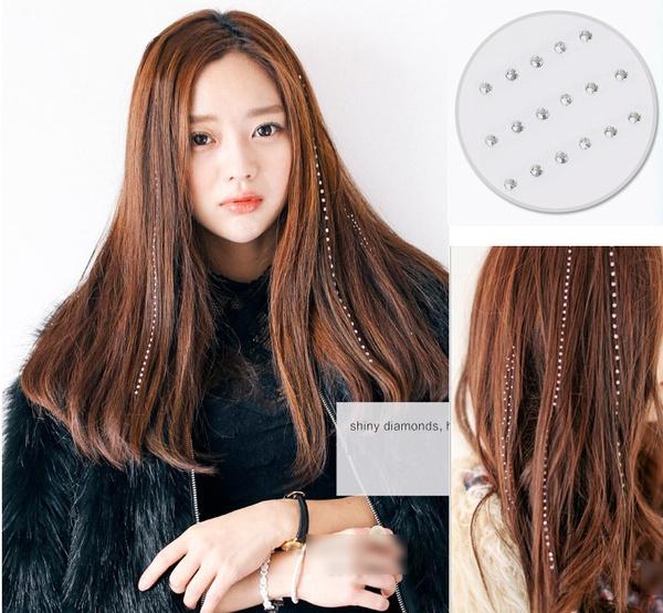 Wish 48pcs Iron On Rhinestone Jewels Hair Extension Straightener