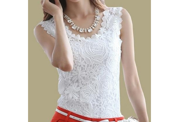 ?new Summer blouse Fashion Top Lace Casual Sleeveless Plus Size Shirts For Women Brand Quality Black White Halter Top