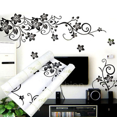Hot Sell ! Beautiful Black Flowers Removable Wall Stickers Charms Vinyl Wall Decals for Home Room Art Decor DIY 44(L) X 33.8(W)cm VVF
