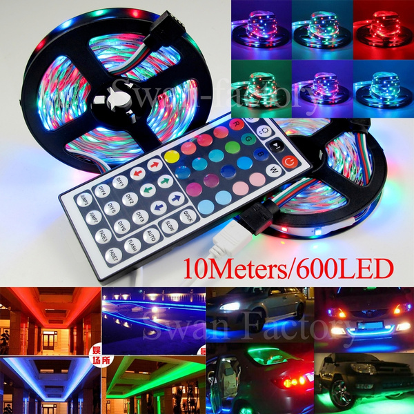 Picture of 2x16.4ft 3528 Rgb Led Strip 600leds 3528 Rgb Led Strip Flexible Self-adhesive Lights+44 Key Ir Remote Controller Color Multicolor