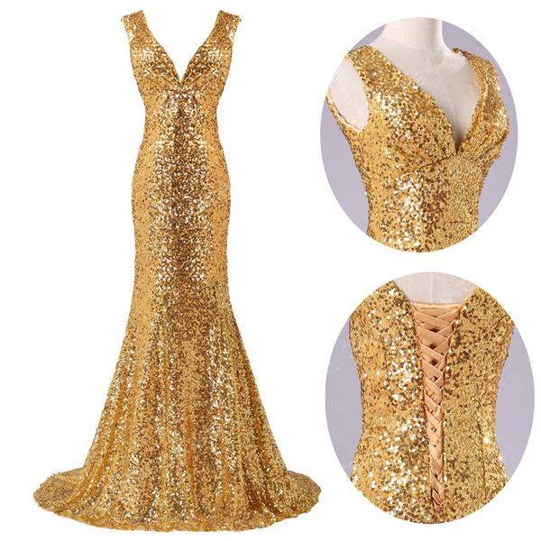 Wish   gold long prom dresses prom dress deep v neck dress sequin ...