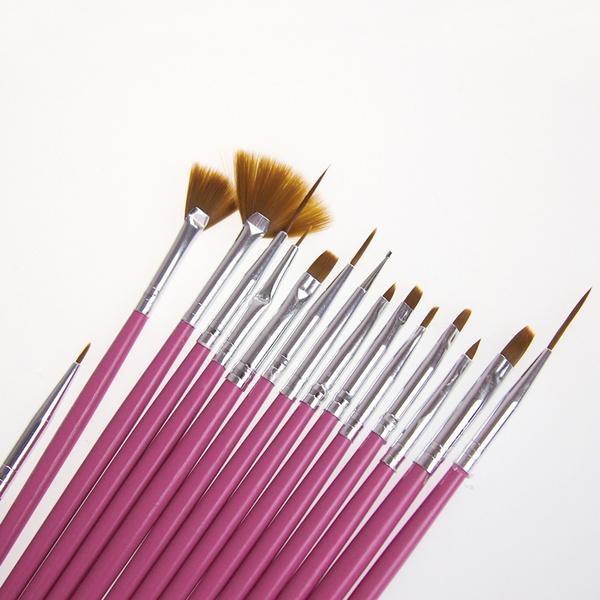 Picture of Cosmetic Nail Art Polish Pen Brush Set Tool 15pcs Uv Gel Diy Nail Art Brush 2 Colors