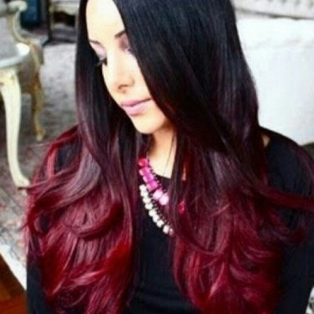 Wish Ombre Black Burgundy Beautiful Full Lace Wig 16 18 Inches Long