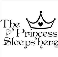 The Princess sleeps here Vinyl Sticker Decal home decor wall paper