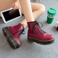 Winter Fashion Women's Combat Ankle Boots Red Black