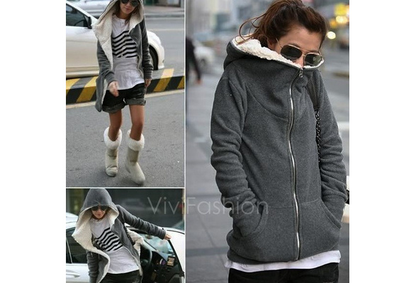 Fashion Women's Zip Up Tops Hoodie Coat Jacket Outerwear Sweatshirt VVF