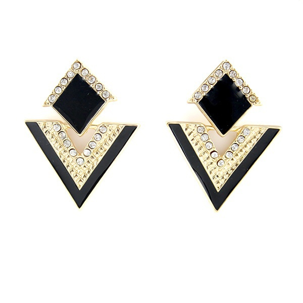 Picture of Punk Gold Color Alloy Rhombus Triangle Dangle Earrings