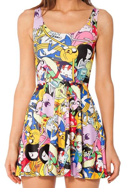 f1aabceb2669b Adventure time pleated skirt galaxy series one-piece printed women fashion  dress