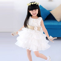 Mama | Princess Baby Girls Toddler Lace Tutu Dresses Layered Skirt Party Wedding Bow Formal 3D Flower