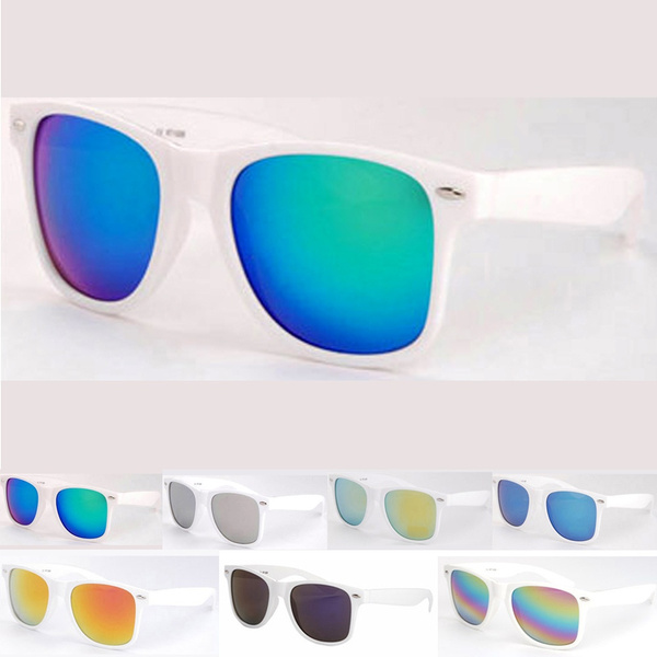 Picture of Unisex Classic Retro Wayfarer Sunglasses Stylish Eyewear White Frame Mirror Lens