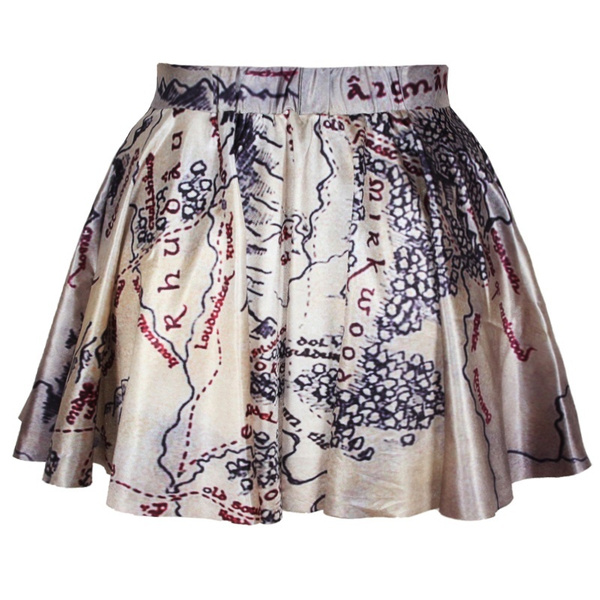 Lord of The Rings Skirt Middle Earth Map skirt Lord of The Rings Clothing  Women Skirt