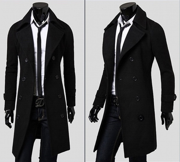 Wish | Stylish Men's Trench Coat Winter Long Jacket Double ...