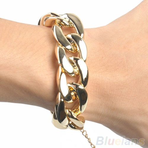 Picture of Fashion Women's Golden/black/silver Chunky Curb Chain Link Plastic Bracelet