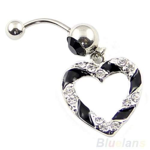 Picture of Clear Black Paved Heart Hollow Dangle Belly Button Navel Ring 1.6mm Bar