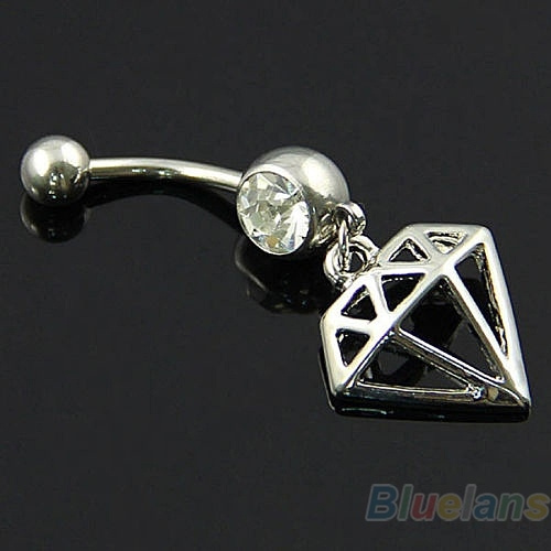 14g Warp Diamond Anodized Titanium Belly Button Navel Ring Stud