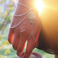 Asymmetric Mens Womens Hamsa Fatima Bracelet Finger Ring Slave Chain Hand Harness