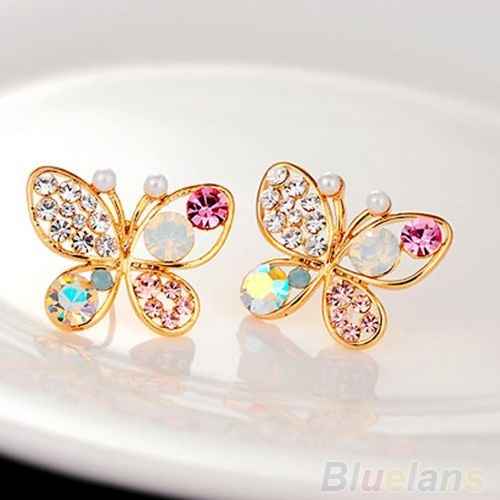 Picture of Ladies Chic Lovely Crystal Rhinestone Hollow Butterfly Ear Stud Earrings Gift