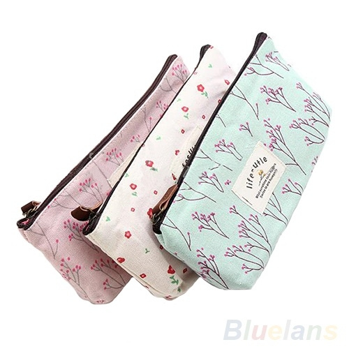 Picture of New Flower Floral Pencil Pen Case Cosmetic Makeup Tool Bag Storage Pouch Purse
