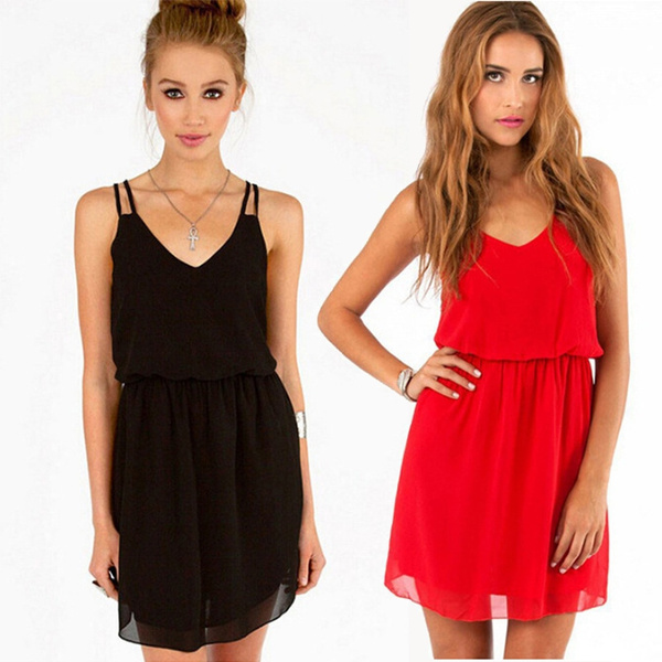 Picture of Women Elegant Sexy Chiffon Casual Party Dinner Cocktail Mini Slip Dress