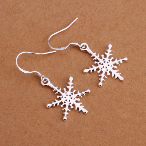 Elegant Fashion Jewelry Silver Plated Stud Dangle Earings Eardrop Smooth Snowflake