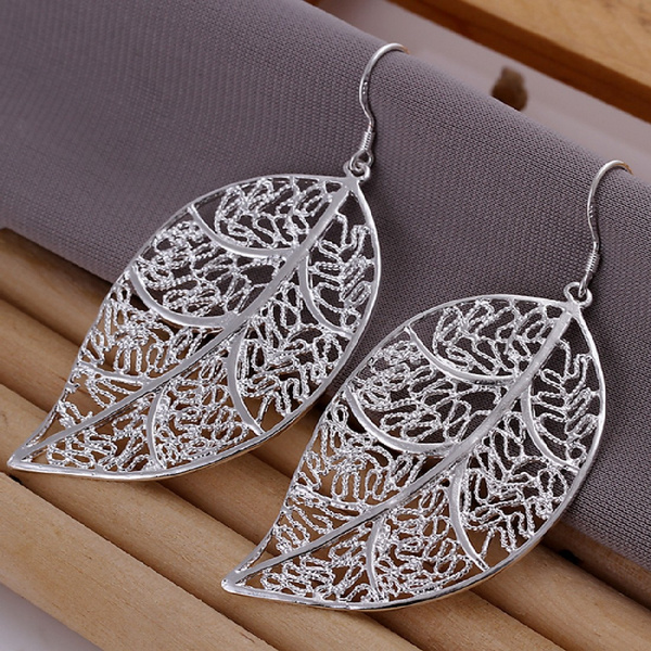 Elegant Fashion Jewelry Silver Plated Stud Dangle Earings Eardrop Skeleton Big Leaf
