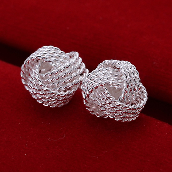Picture of Elegant Fashion Jewelry 925 Silver Plated Stud Dangle Earings Eardrop White Tennis Ball