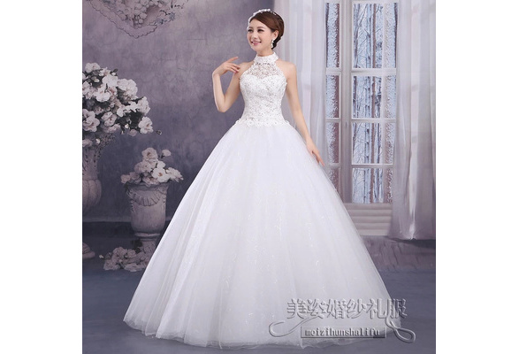 Romantic Wedding Dress Ball Gown Bridal Gown Floor-Length Sleeveless halter Organza Bridal Dress With Lace Vestido De Noiva Size 2-12 WE309