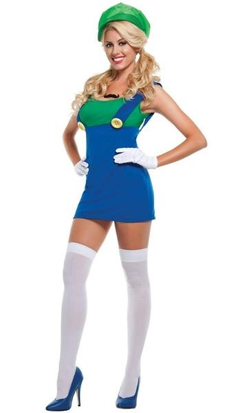 wish sexy green jumping plumber mario women adult halloween costume fancy party dress