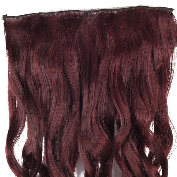 Wish Women Wig One Piece Wine Red Clip In Synthetic Hair