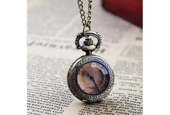 New Style Cute Fashion Luxury Created Gemstone Openable Elegant Pocket Watch Necklace