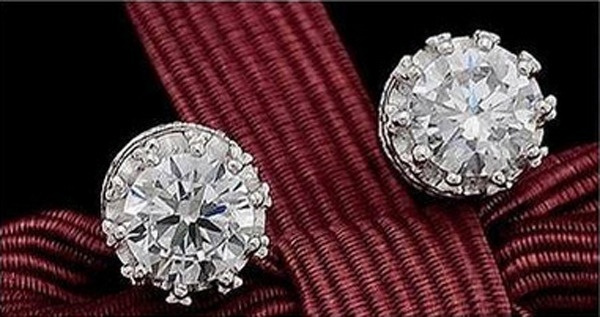 Fashion Womens Silver Plated Crystal Ear Stud Earrings