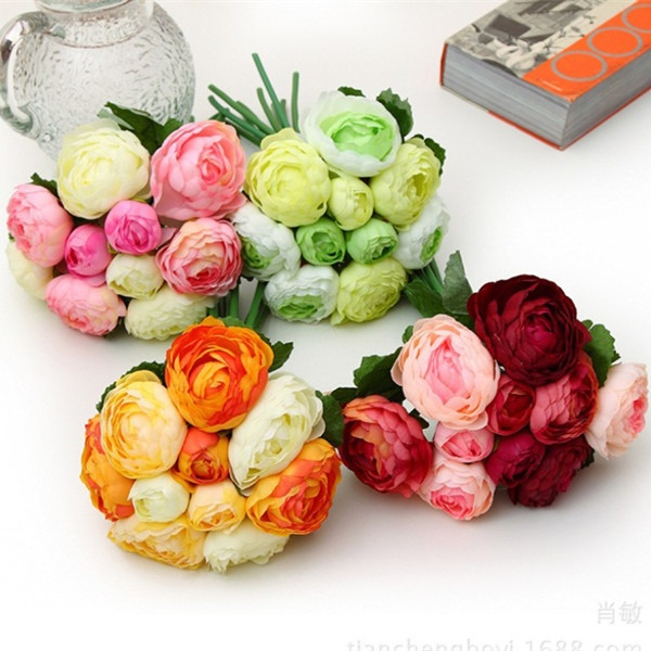 Picture of Camellia Rose Bouquet Artificial Fake Flowers Wedding Party Home Garden Decor