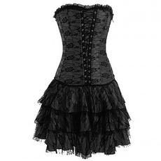 Black Corset, black lace dress, Lace, Dress