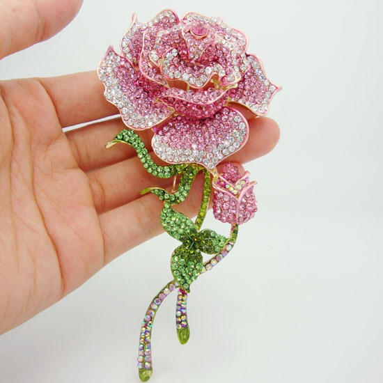 Beautiful, pink, largeflowerbrooch, brooches
