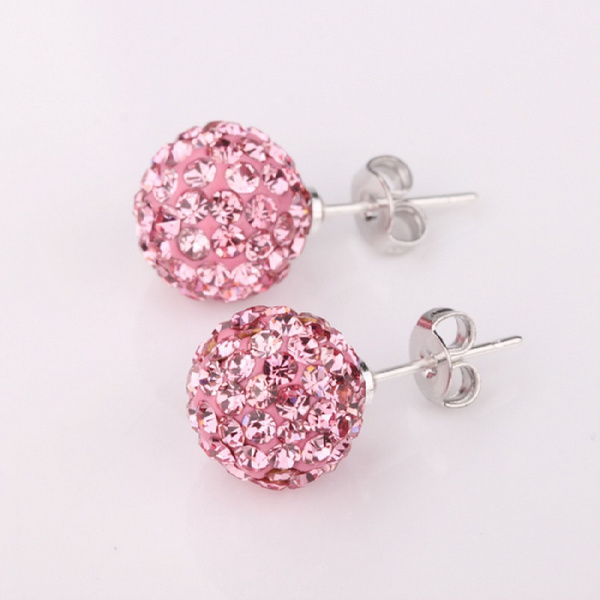 Picture of Luxury Shambhala Jewelry Bling Fashion Stud Dangle Earings Eardrop Long Stick Rose Ball With Zircon