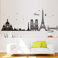 Wish Romantic Paris City View Diy Wall Stickers