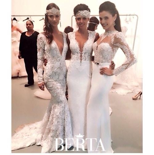 Wish   High quality long satin lace mermaid wedding dress with long ...