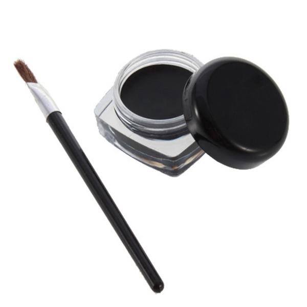 Picture of Black Pro Eye Liner Eyeliner Shadow Gel Makeup Cosmetic + Brush
